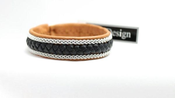 Sami bracelet Jalk in reindeer leather colour Muscade.