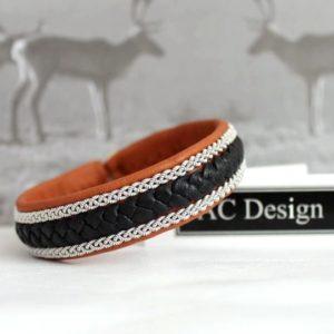 Sami bracelet Jalk in nature brown reindeer leather.
