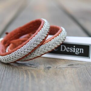 Sami bracelets in reindeer leather color Nature Brown.