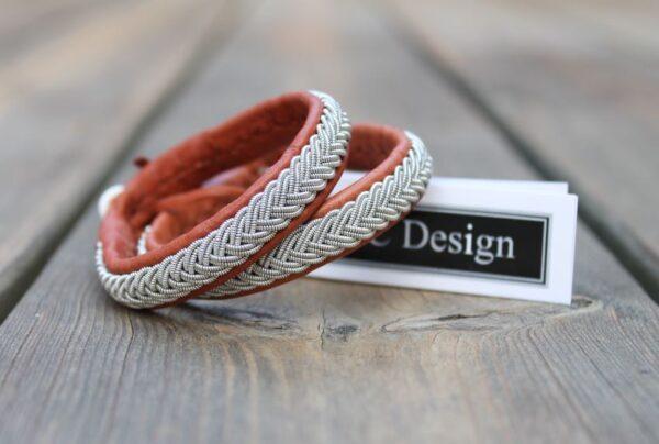 Sami bracelets in reindeer leather color Nature Brown.