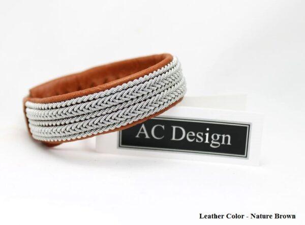 Sami bracelet FREKE in Nature Brown reindeer leather