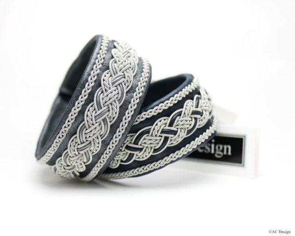 Sami bracelet *Delling in reindeer leather color Black Perlato and Marine Blue