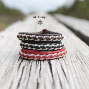 Sami bracelets SKOLL in reindeer leather color Dark Brown, Black and Red.