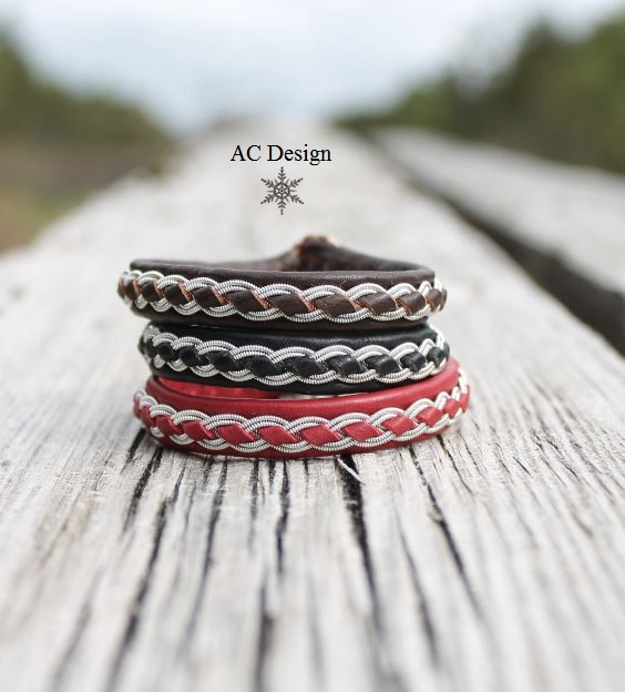 Sami bracelets SKOLL in reindeer leather color Dark Brown, Black and Red.