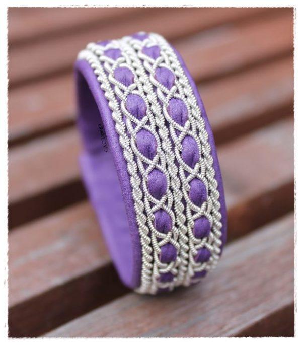 Sami bracelet FENRIS in reindeer color Lilac