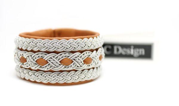 Sami bracelet handmade in reindeer leather