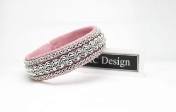Sami bracelet Froste in leather color Pink lady - sterling 925 silver beads.