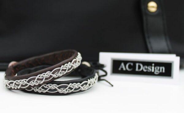 Sami bracelet BELE in Black and Dark Brown reindeer leather