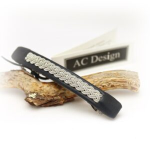 Sami hair barrette in leather color Marine Blue