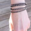 Sami Wrap bracelet in Dark brown leather