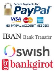 PayPal, Visa, Master Card, IBAN/BIC, SWISH, Bankgiro