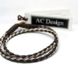 Sami bracelet wrap bracelet in reindeer leather and pewter wire.