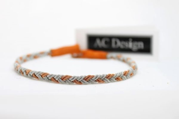 Sami anklet in Copper wire / Orange reindeer leather