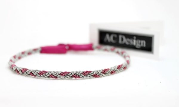 Sami anklet in Pearl Pink wire / Azalea reindeer leather