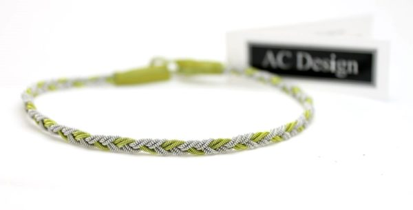 Sami anklet in Green wire / Lime lamb leather