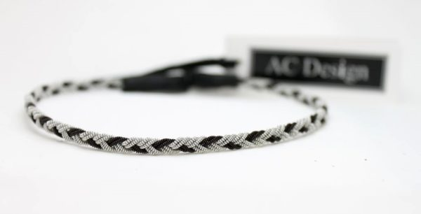 Sami anklet in Black wire / Black reindeer leather