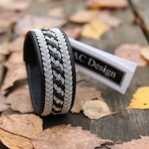Sami bracelet Floki in black reindeer leather