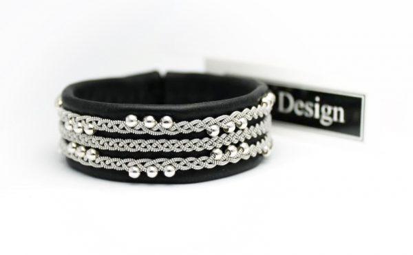 Sami bracelet - Vanadis in black reindeer leather.