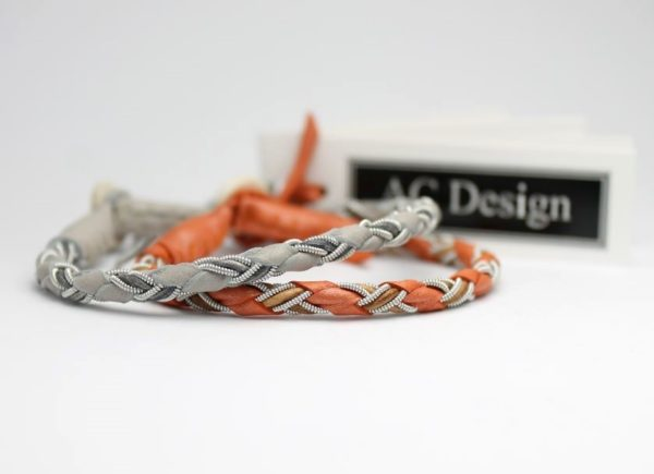 Sami bracelet HEVRING in reindeer leather color Elephant and leather cord color Vintage Grey - Pearl Burned Orange and Vintage Tan