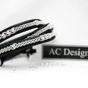 Triple Sami bracelet LONE in blacka reindeer leather and sterling 925 silver beads.