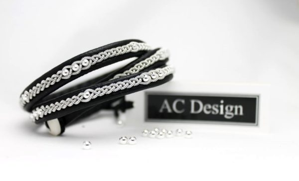 Triple Sami bracelet LONE in blacka reindeer leather and sterling 925 silver beads.